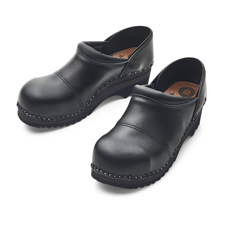 Wooden Shoe for Gardening with Steel Toe Cap Black