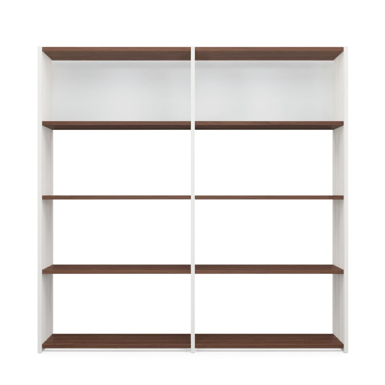 Walnut and Beechwood Folding Shelving 2 × 4 Compartments White