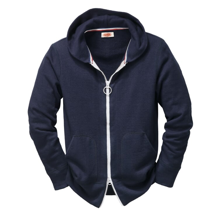 Men's Terry Cloth Tracksuit Top with a Hood by Armor lux, Blue