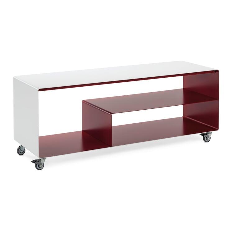 Sideboard Stahl Signalweiß/Rubinrot