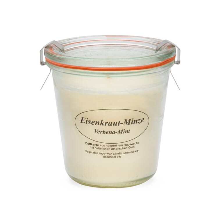 Scented Candle Made of Rape Seed Wax in a Weck® Glass, Verbena-Mint