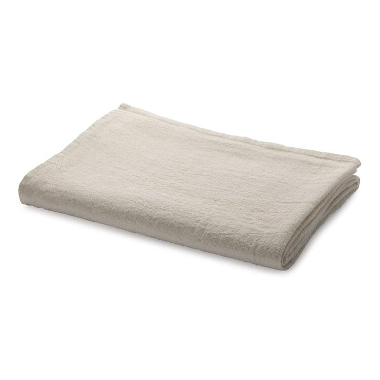 Tischdecke gewaschenes Leinen Weiß 130 × 130 cm