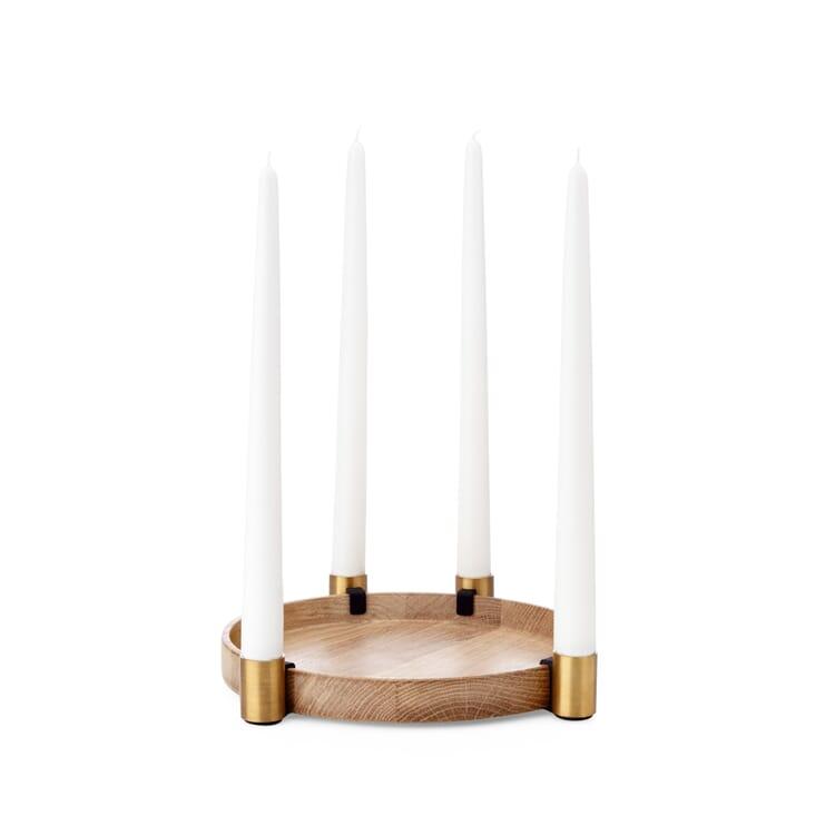 Candleholder Luna, Oak and Brass