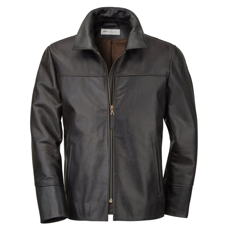 Men's Leather Jacket Made of Horse Pull-Up Leather by Hack, Black Brown