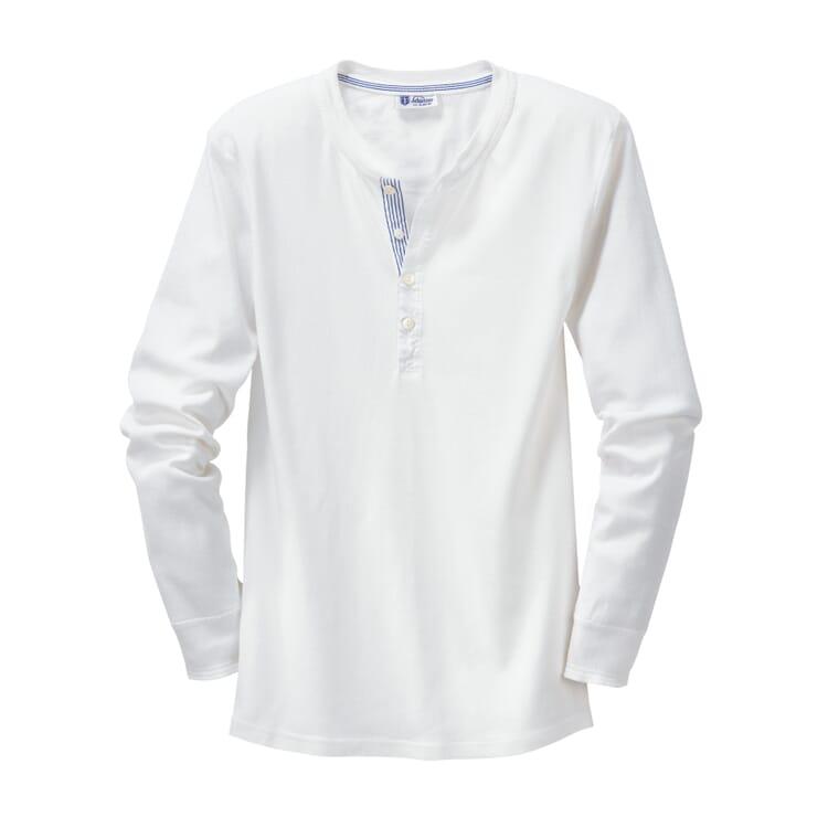 Schiesser Herren-Unterhemd Langarm Feinripp, Weiß