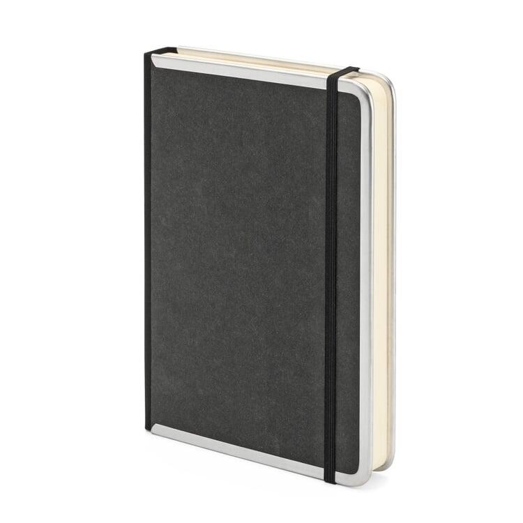 Notizbuch Metallkante A5 Blanko Schwarz