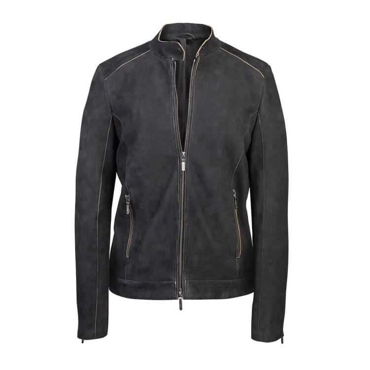 Women's Suede Goat Leather Jacket Anthracite