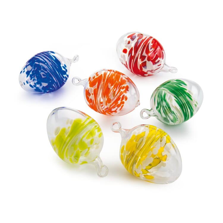 Lauscha Glass Easter Eggs with Coloured Granules