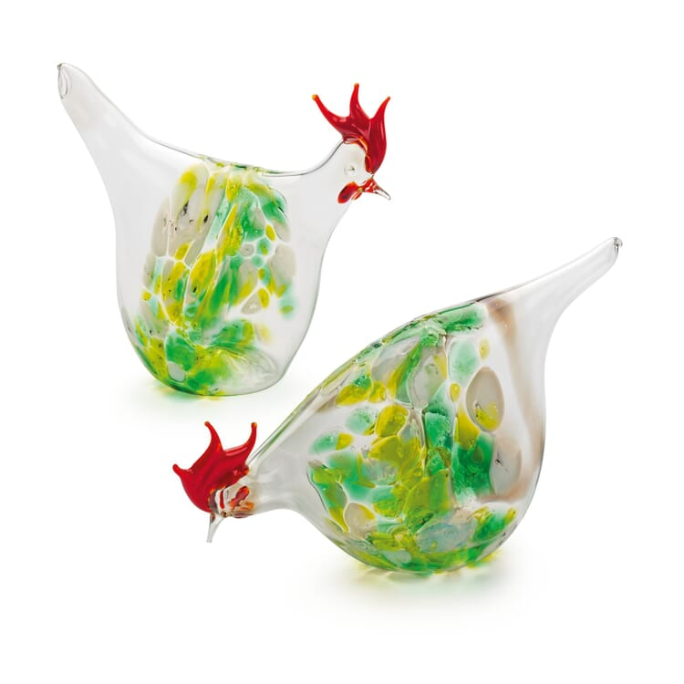 Lauscha Glass Chickens with Coloured Granules, Green