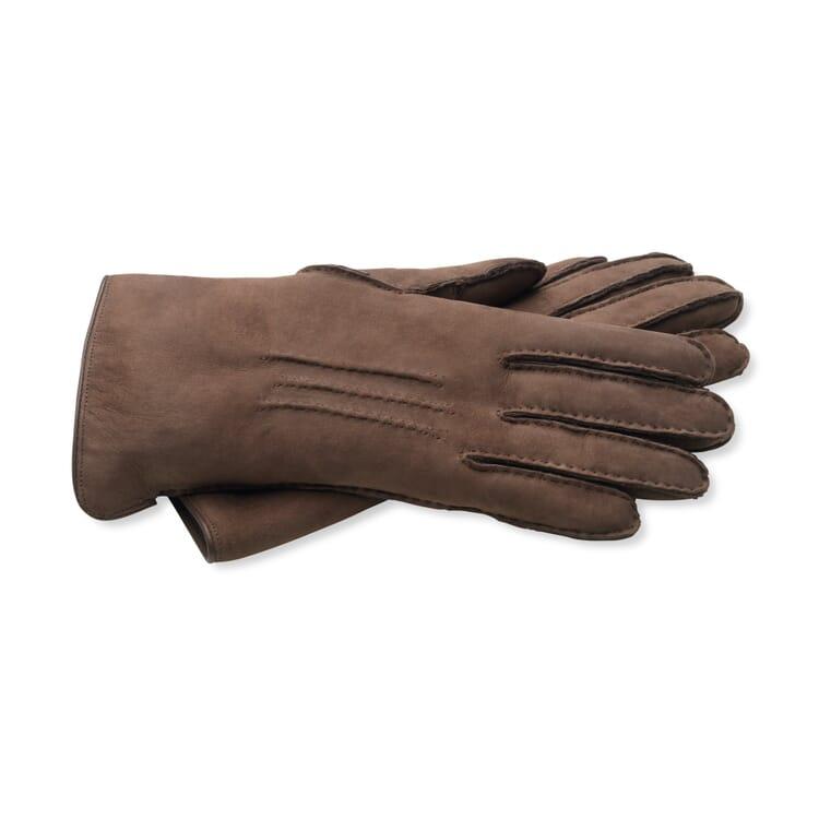 Damenhandschuh Curleylammfell, Dunkelbraun