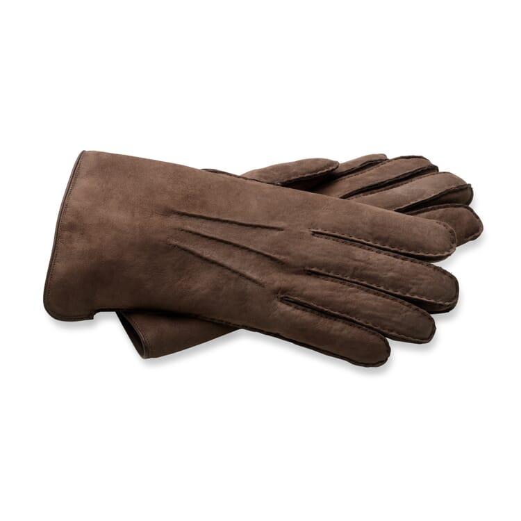 Herrenhandschuh Curleylammfell, Dunkelbraun