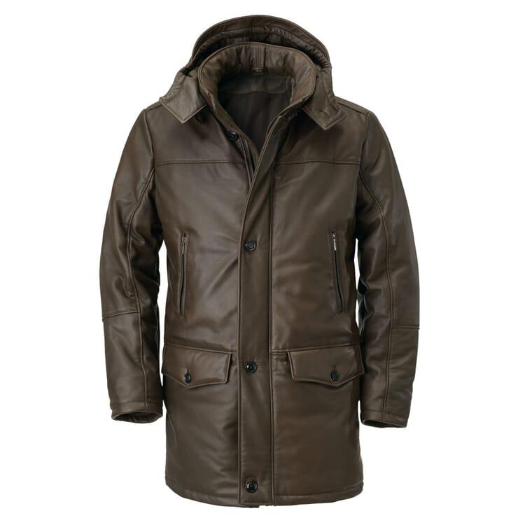 Men's Parka Elk Leather with Down Filling