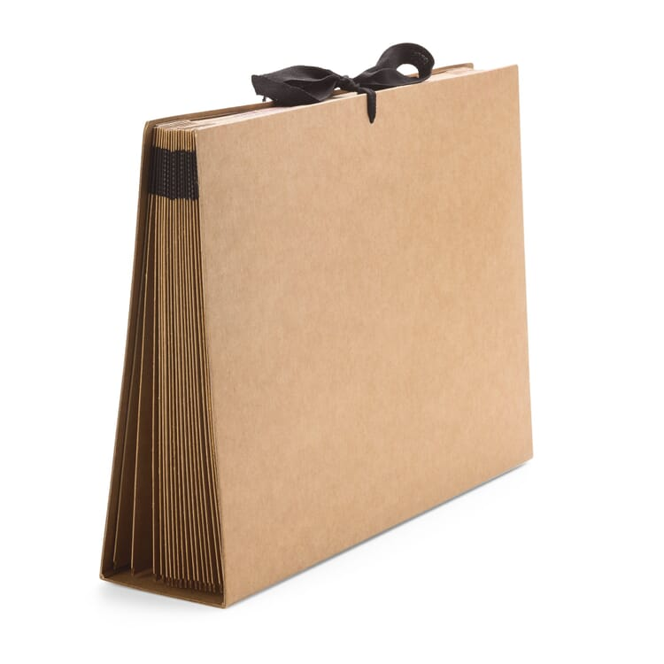 Cardboard Folder with Fan-Out Compartments in A4, Brown