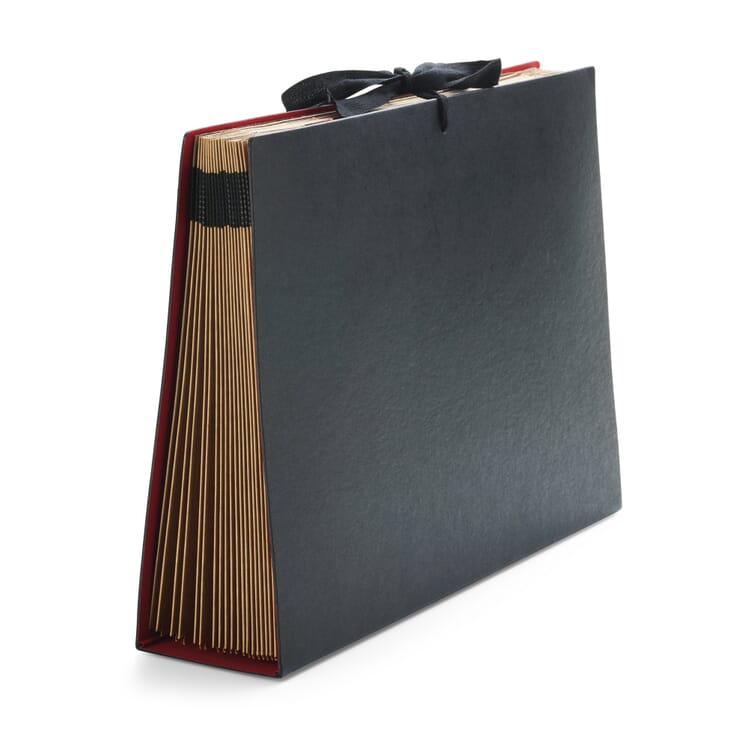 Cardboard Folder with Fan-Out Compartments in A4, Black