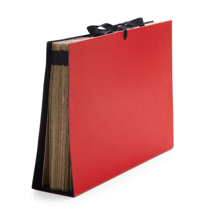 Cardboard Folder with Fan-Out Compartments in A4, Red