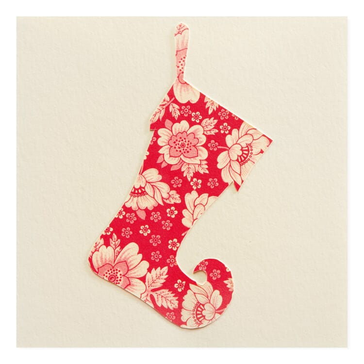 Grußkarte Scherenschnitt, Rote Socke