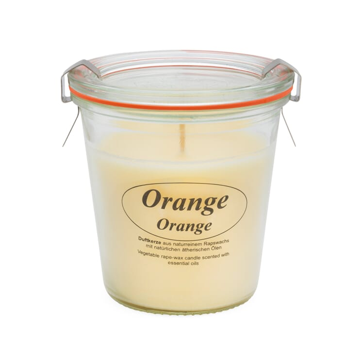 Scented Candle Made of Rape Seed Wax in a Weck® Glass, Orange