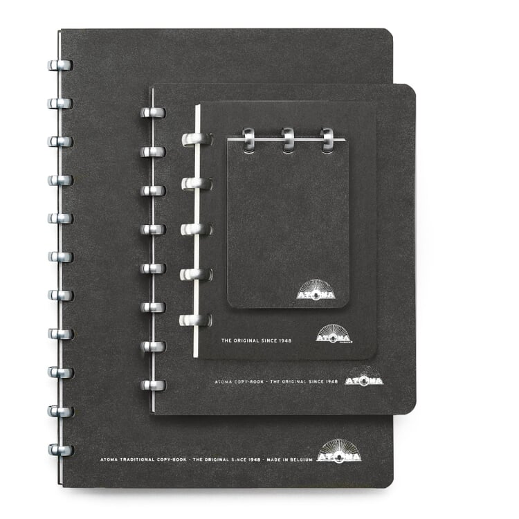 A7 Notebook with Blank Pages by Atoma Black