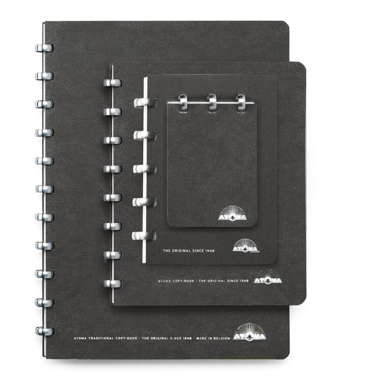 A7 Notebook with Blank Pages by Atoma, Black