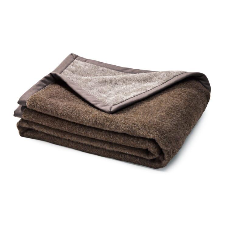 Double Face Alpaca Blanket, Grey-brown