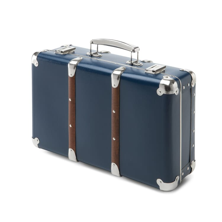 Cardboard Suitcases with Wooden Slats, Blue