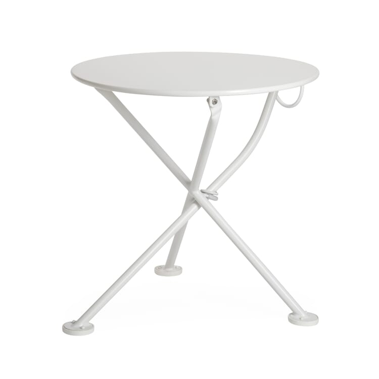 Low Folding Bistro Table Made of Steel, White