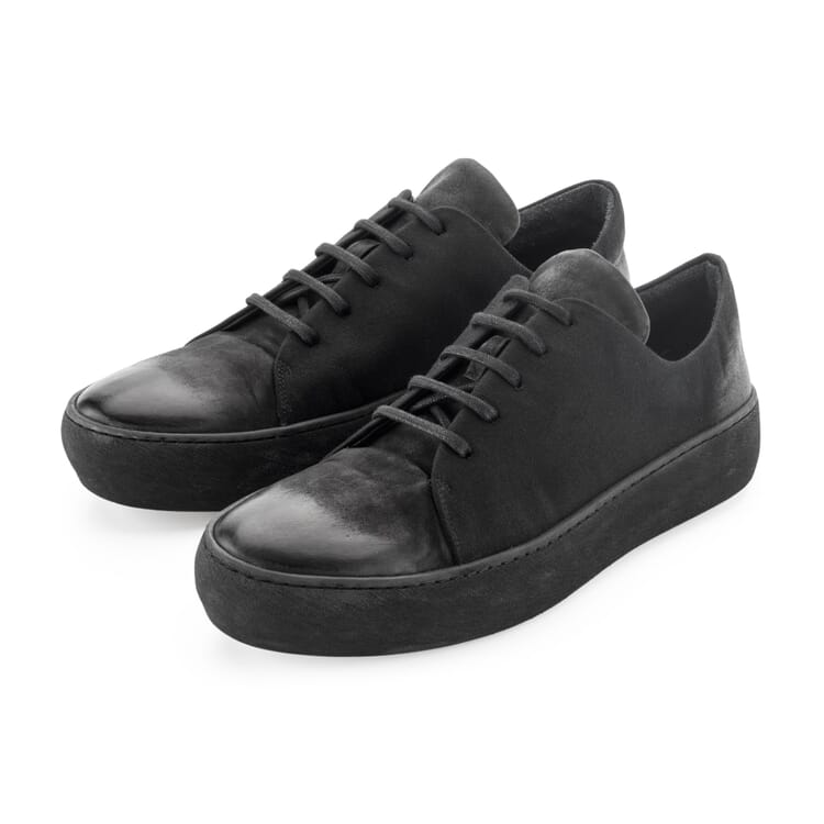 Men's Leather and Moleskin Trainers by Hannes Roether, Black