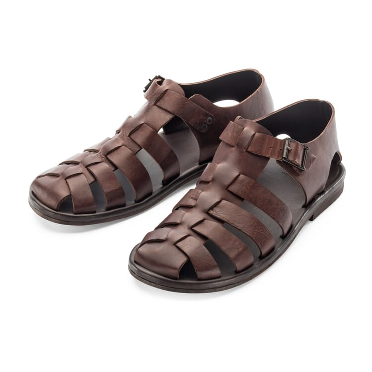 Men?s Leather Sandals Made by Zeha, Dark Brown