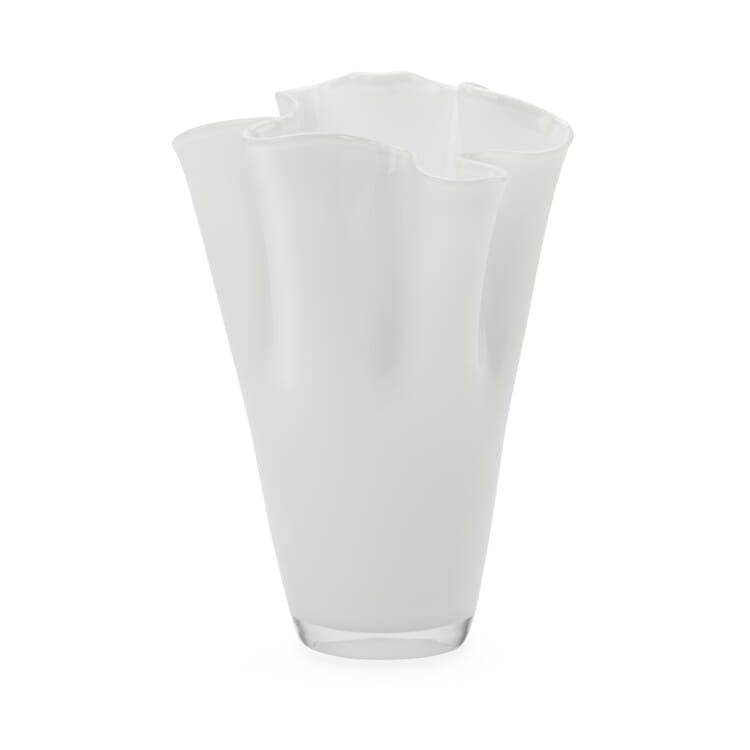 Faltenvase groß, Weiß