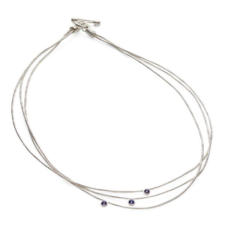 Halskette Silber dreifach mit Iolith