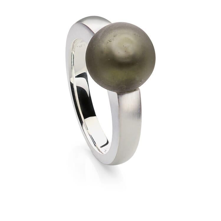 Murano Glass Silver Ring with Matt Grey Glass Bead