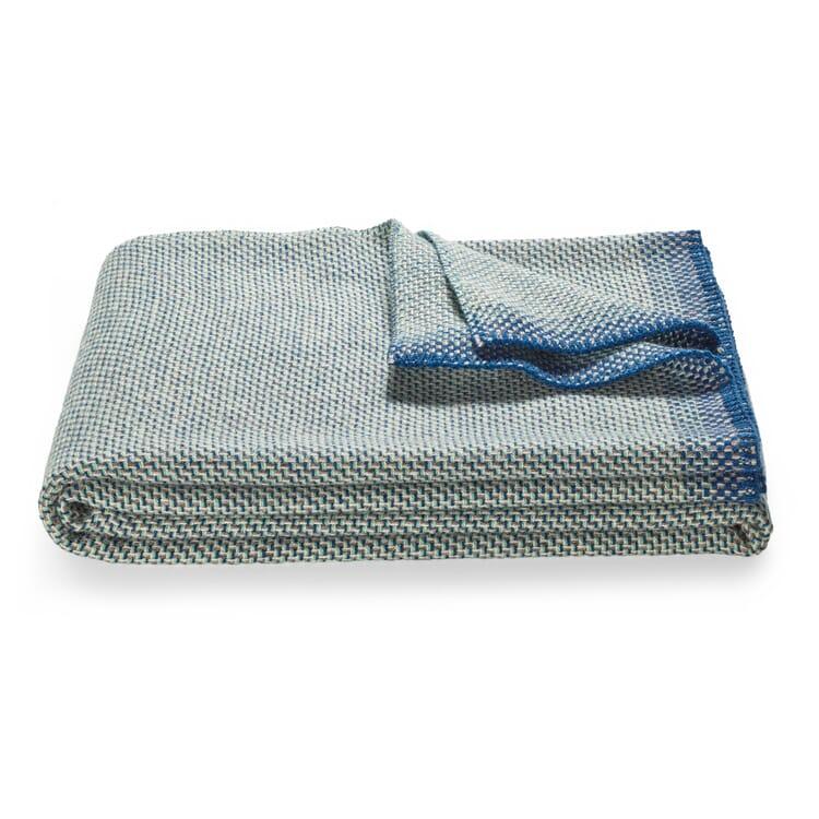 Wool Blanket Basket Weave, Blue- Grey
