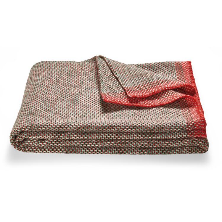 Wool Blanket Basket Weave, Red-Green
