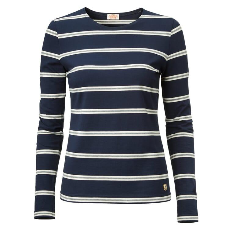 Women's Long-Sleeved Striped T-Shirt by Armor Lux, Dark Blue