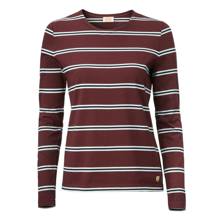 Women's Long-Sleeved Striped T-Shirt by Armor Lux, Wine Red