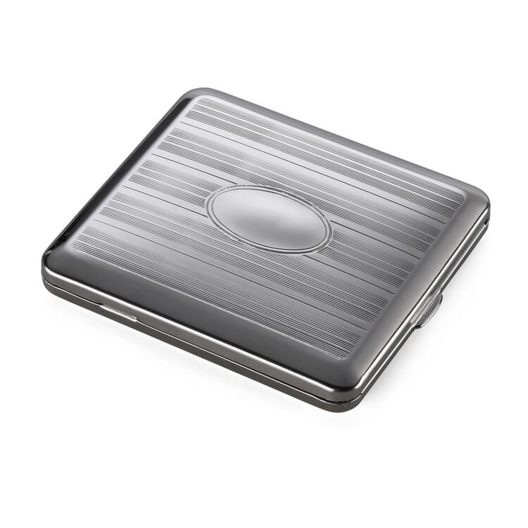 Cigarette Case Made of Sheet Steel, Stripes with Engraving Space