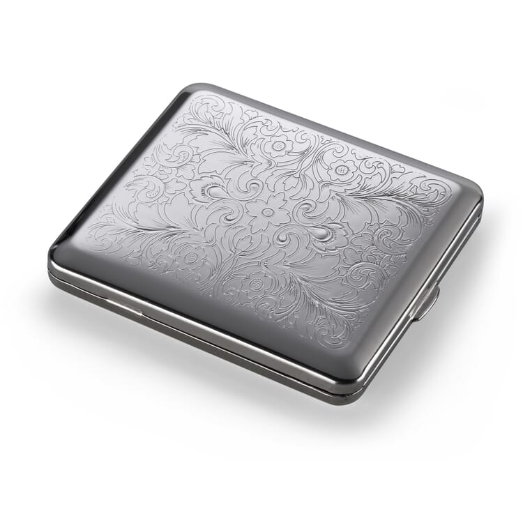 Cigarette Case Made of Sheet Steel, Floral Pattern