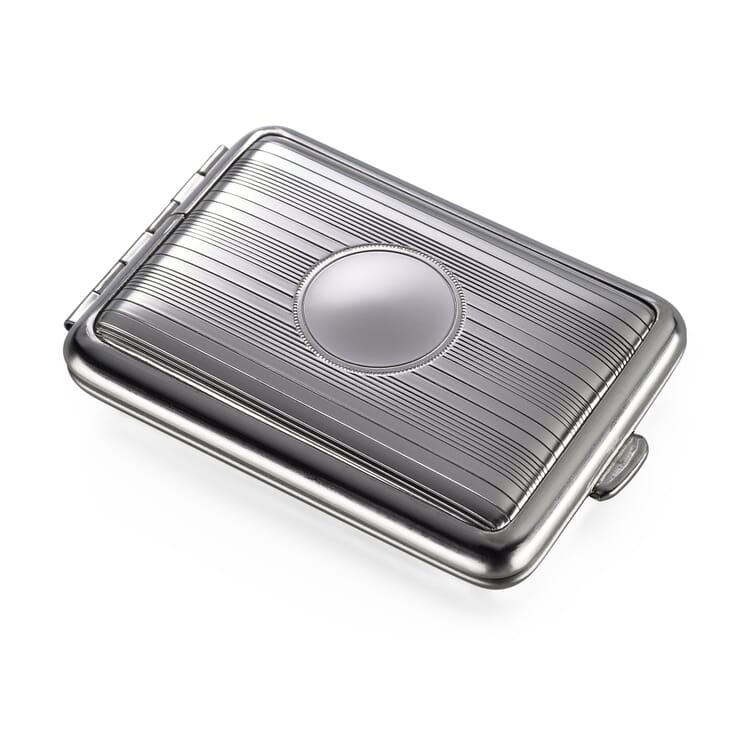 Pillbox Made of Sheet Steel, Stripes with Space for Engraving