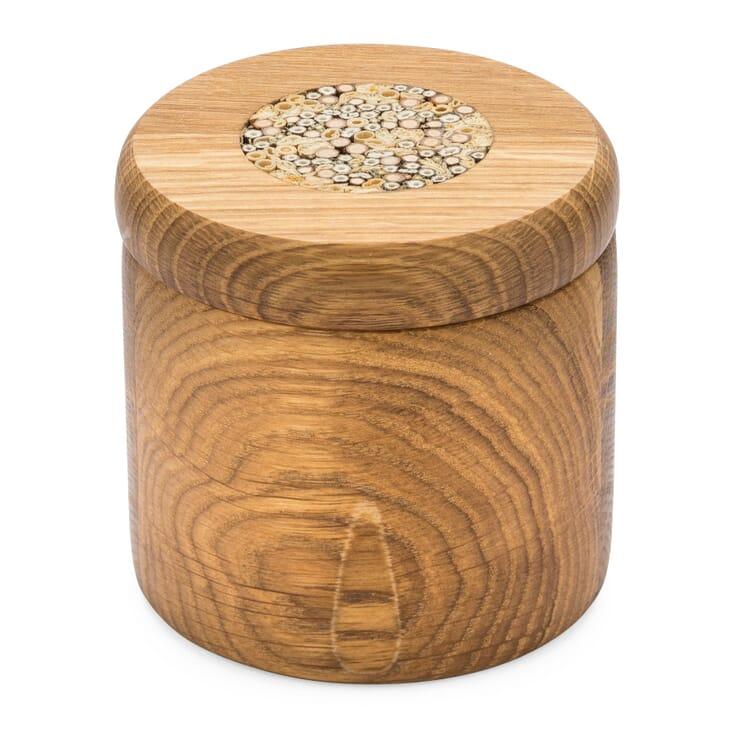 Eichenholzdose mit Intarsie