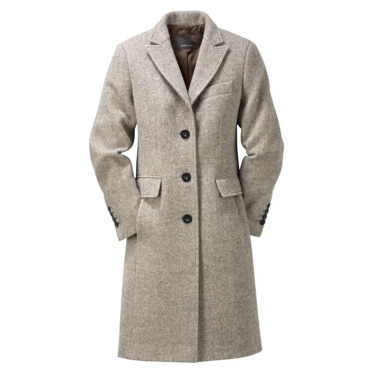 Women's Peaked Lapel Coat Made of Woollen Herringbone Fabric by Manufactum
