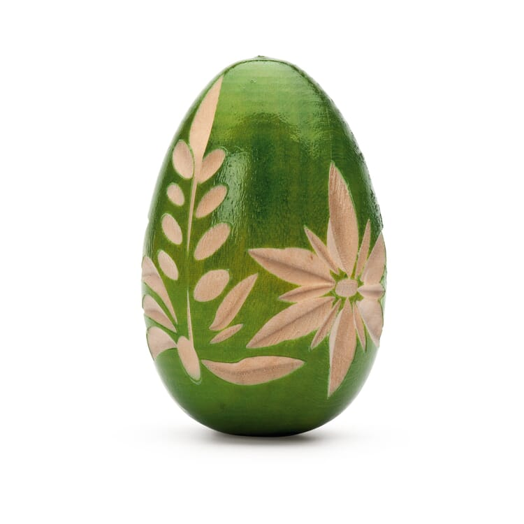 Hand-Carved Easter Egg Made of Pinewood, Green