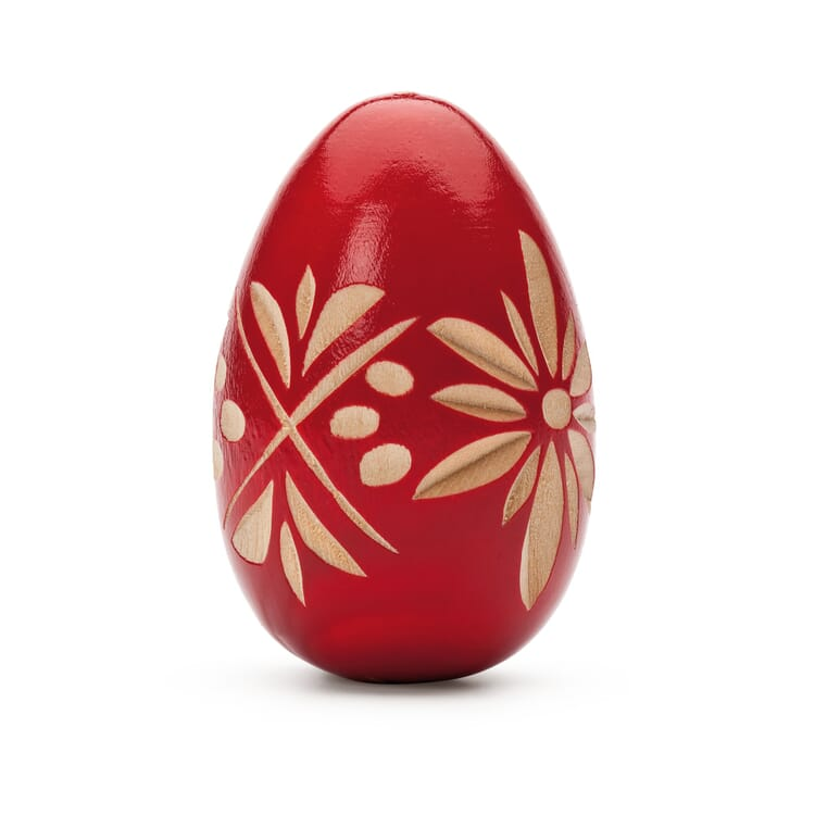 Hand-Carved Easter Egg Made of Pinewood, Red