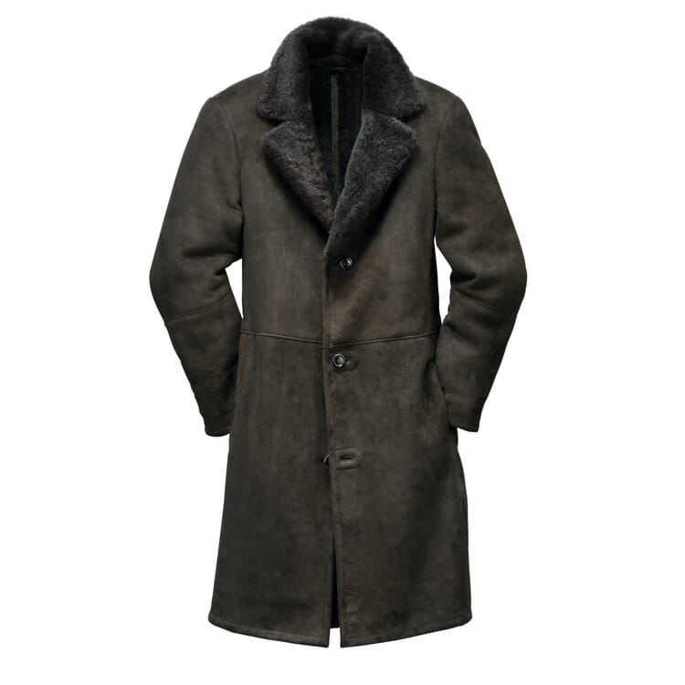 Men's Icelandic Lambskin Coat, Charcoal