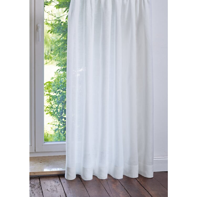 Pure Linen Voile Curtains Height 150 cm White