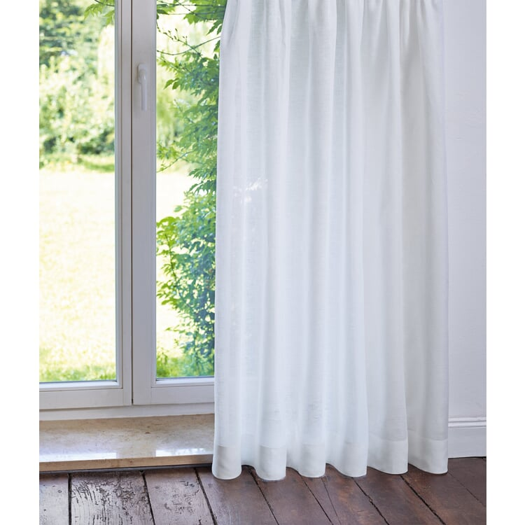 Pure Linen Voile Curtains Height 225 cm White