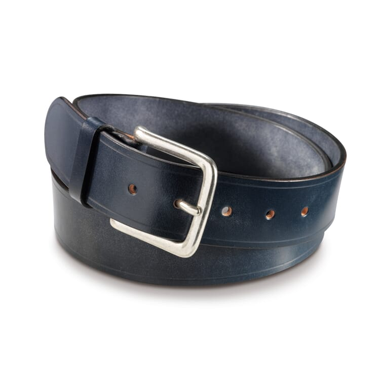 English Saddle Leather Belt by Kreis, Dark Blue