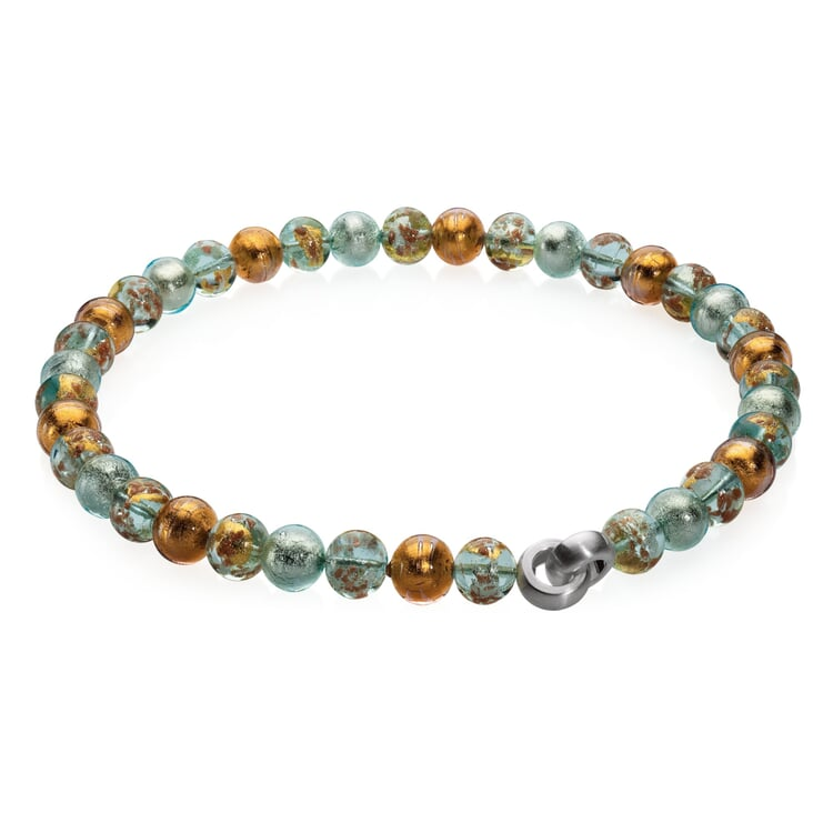 Murano Glass Collier Necklace with Copper Pastel
