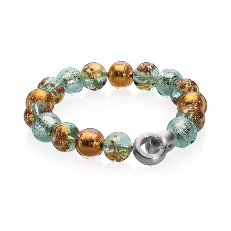 Murano Glass Bracelet with Copper, Pastel