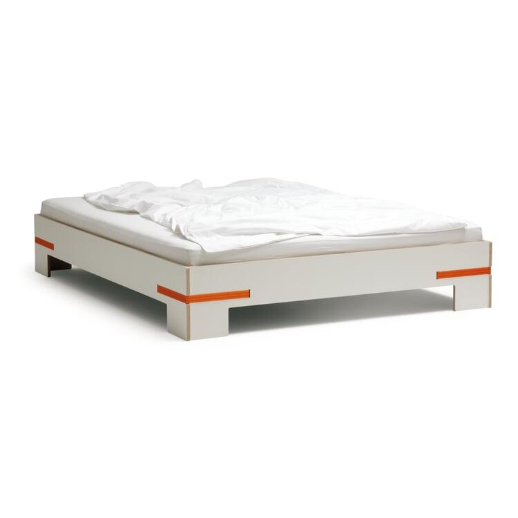 Bett Gurtbett weiß 180x200cm Gurte orange