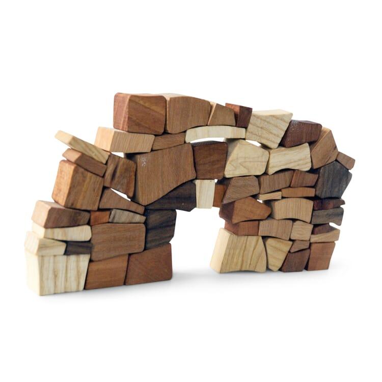 Holzbausteine Mauerspiel